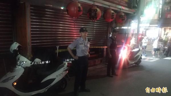 警方封鎖現場。(記者鄭景議攝)