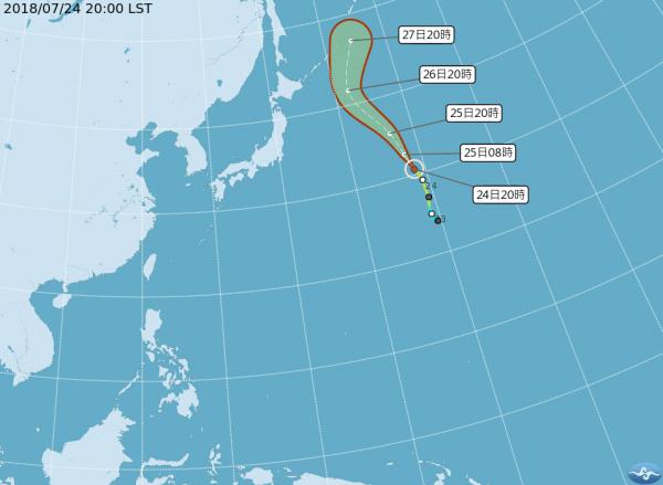 輕颱「悟空」位在日本本島東方的太平洋海面上,其暴風圈對台灣沒有影響。(圖擷取自中央氣象局)