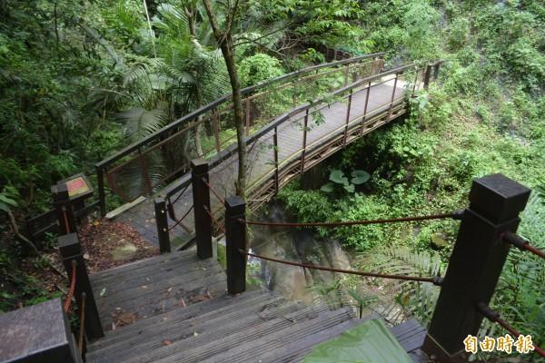 太平蝙蝠洞1期步道完工,沿線生態豐富,設有木棧道、鐵橋。(記者陳建志攝)