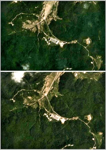 比對上月廿二日(上)及本月廿二日(下)拍攝的北韓西海衛星發射基地影像,可知當地近期有所動作。(路透)