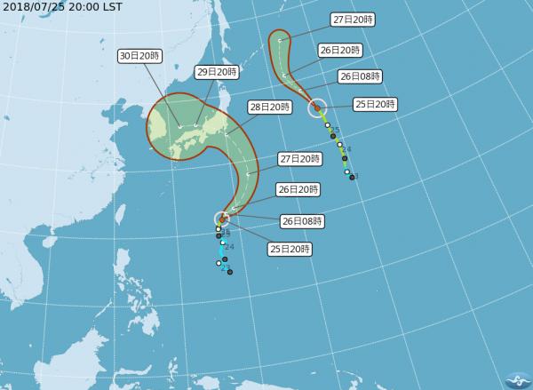 第12號颱風「雲雀」未來將往東北方向朝日本方向前進,影響台灣機率較低。(圖擷取自中央氣象局)