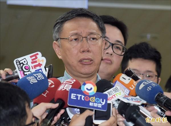 台北市長柯文哲昨批北京政府不了解台灣社會,「這是不智的行為」。(記者黃耀徵攝)