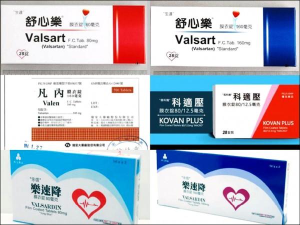 台灣衛生福利部食品藥物管理署日前宣布回收含有中製問題原料藥「纈沙坦」的六款藥品。(取自網路)