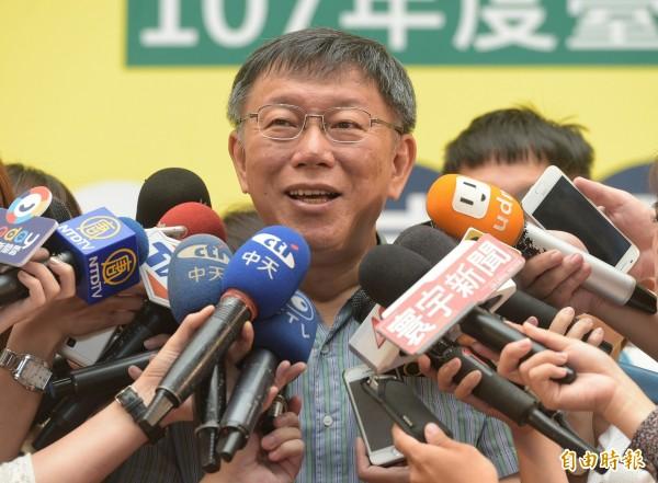 台北市長柯文哲28日出席參與式預算感恩茶會,感謝提案人對市政建設的貢獻,並在會後受訪。(記者張嘉明攝)