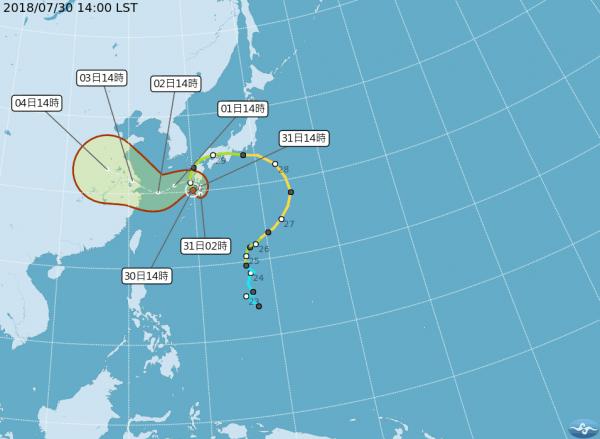 第12號颱風「雲雀」,下午2點時位於台北東北方1000公里的海面上,並有減速打轉的跡象;未來將從日本九州南側轉向東海,往上海方向移動。(圖擷取自中央氣象局)