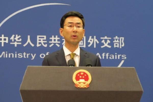 耿爽表示,中國已就蔡英文過境一事向美國嚴正抗議。(中央社)