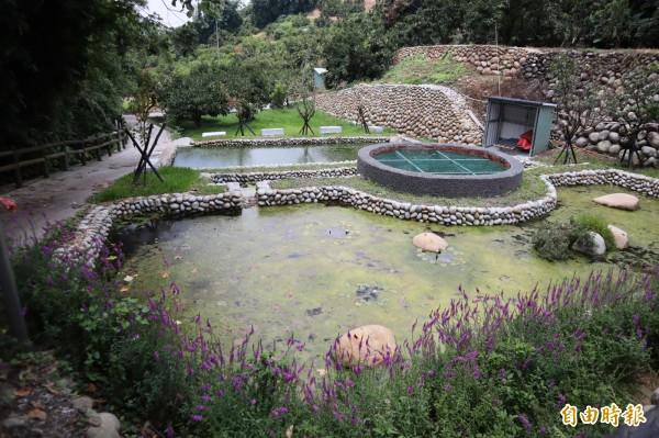 水土保持局沿豐原公老坪山勢設置儲水槽,以調配水資源。(記者歐素美攝)