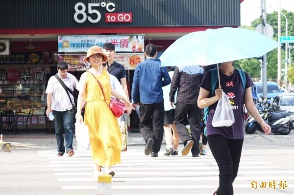 明日氣溫可達36度,北部體感溫度更可能高達42度,氣象局也提醒注意防曬、補充水分,小心中暑。示意圖。(資料照)