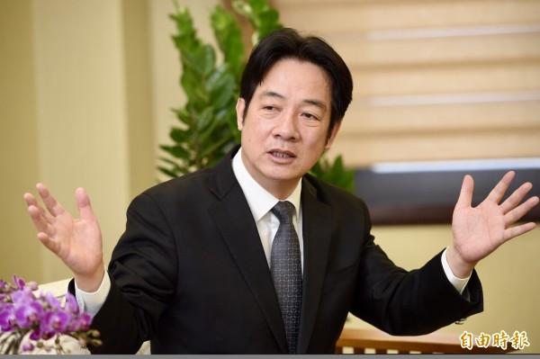 行政院長賴清德接受新聞台專訪時說,蔡總統考慮的是下一代台灣的未來,沒有受到選舉影響,堅定的去執行年金改革,現在改革已經完成,年金破產已經是歷史名詞。(資料照)