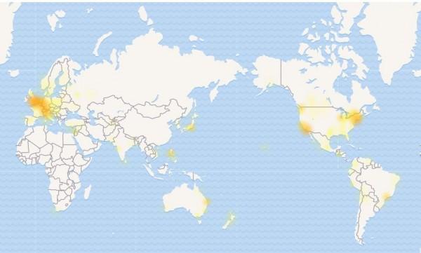 美東時間3日中午12點16分起,也就是台灣時間4日午夜12點16分起,Facebook在歐洲、亞洲、美洲、澳洲、南美洲等地,均傳出當機災情,目前臉書官方並無做出回應。(圖擷取自downdetector)