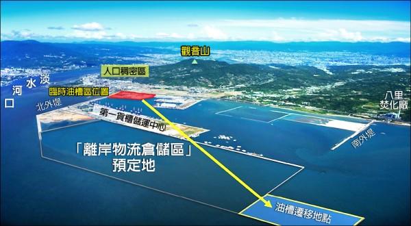 台灣港務公司目前進行填海造陸工程,預計二○二六年完工,將可辦理油槽遷移作業。(八里區公所提供)