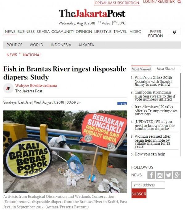 印尼環保團體一項研究發現,東爪哇省最長的河流布蘭塔斯河(Brantas River)每年會被丟入500公斤的一次性紙尿布。(翻攝雅加達郵報)