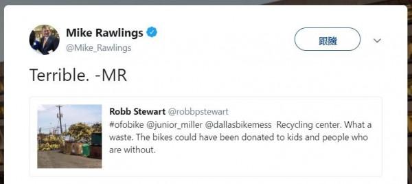 達拉斯市長羅林斯(Mike Rawlings)在推特轉發單車垃圾山照片,並稱「太糟糕了」。(圖擷取自推特)