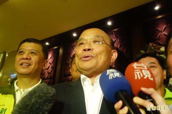 蘇貞昌今晚出席新北市廠商發展促進會理監事餐敘。(記者葉冠妤攝)