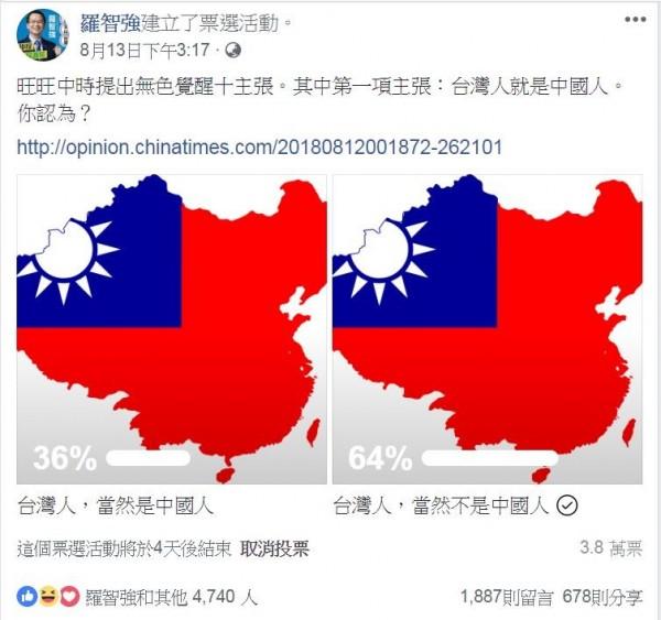 國民黨台北市議員參選人羅智強13日起在臉書上發起投票活動,詢問網友是否認為台灣人就是中國人。(圖擷取自羅智強臉書)