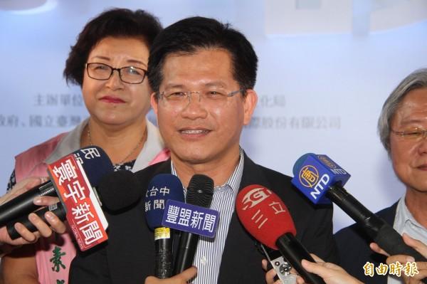 林佳龍呼籲國人支持政府捍衛自由與未來,做台灣人在海外的後盾。(記者黃鐘山攝)