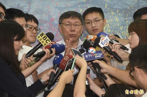 對於85度C事件,北市長柯文哲今受訪時表示,中國一直激發民族主義蠻危險的。(資料照)