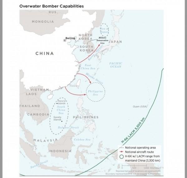 中國轟6K搭載長程攻陸巡弋飛彈,美軍關島基地也同感威脅。(取自美軍公布的2018中國軍力報告)。