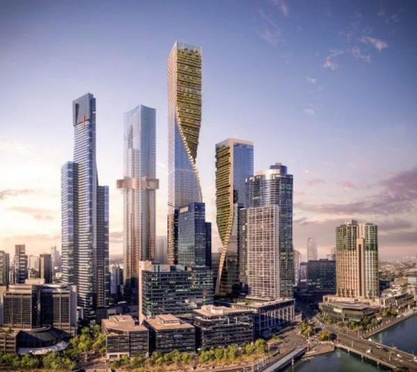 澳洲墨爾本南岸新開發案的「綠脊(Green Spine)」建案,將興建2棟大樓,其中1棟將成為澳洲最高摩天大樓,高度超過356公尺。(圖擷自Cox Architecture官網)