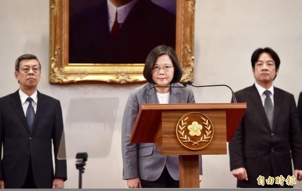 針對我國與薩爾瓦多斷交一事,總統蔡英文中午召開記者會對外說明。(記者羅沛德攝)