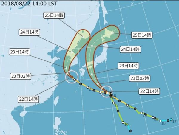 蘇力颱風、西馬隆颱風將侵襲南韓與日本,長榮航空、台灣虎航、華航今先後宣布部分航班將異動。(擷取自中央氣象局網頁)