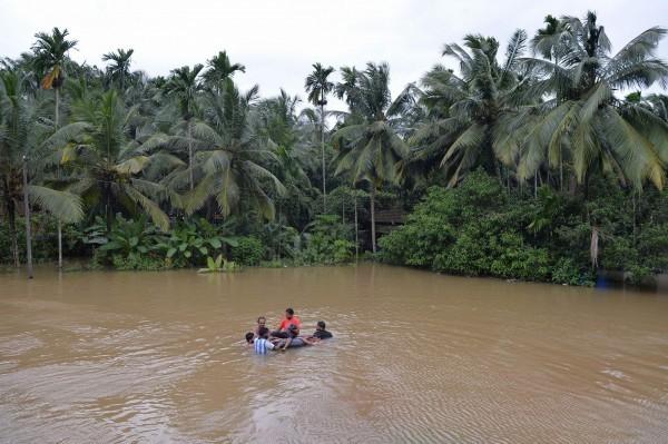印度南部克勒拉省今年雨季災情慘重。(法新社)