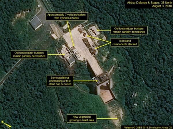 北韓停止拆除西海衛星發射場內設施。(擷取自北緯38度)