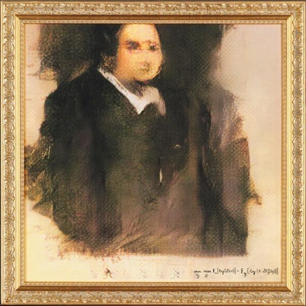 人工智慧(AI)所繪製的肖像畫「Edmond de Belamy」。(圖擷取自佳士得網站)