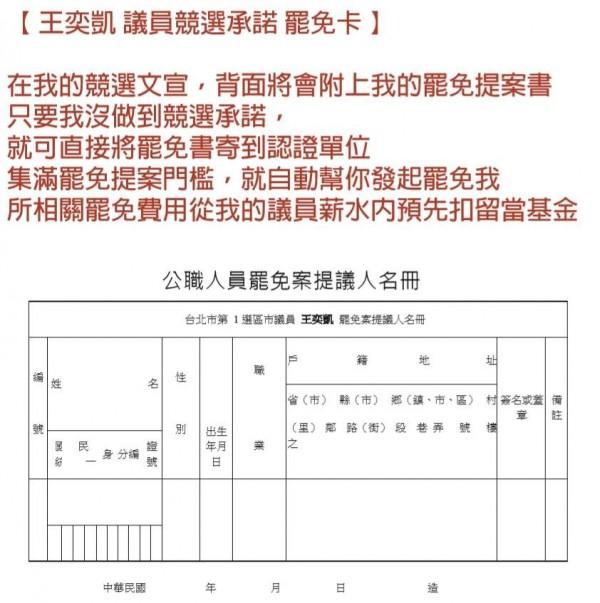 王奕凱認為,「罷免卡」將會在正式登記參選後,與公證單位共同推出。(圖擷取自王奕凱臉書)