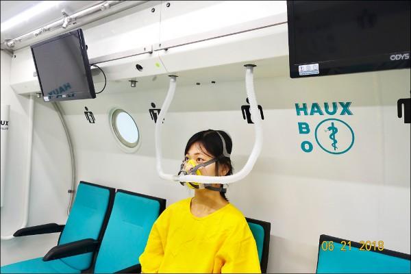 ▲高壓氧的治療是病人在完全密閉的壓力艙內,間歇性吸入100%純氧的治療;圖為情境照,圖中人物與本文無關。(照片提供/曹靖芳)