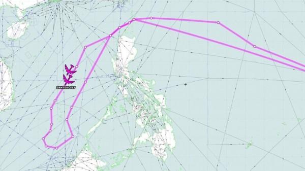 2架轟炸機從關島起飛,越過巴士海峽後,在南海空域繞行一圈後返航。(圖擷自Aircraft Spots推特)