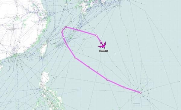 1架B-52H從關島飛向沖繩附近的東海後返航,一度進入中國所聲稱的東海防空識別區。(圖擷自Aircraft Spots推特)