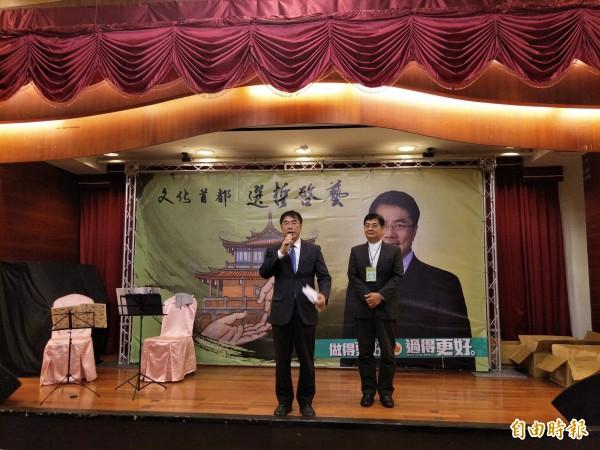 黃偉哲表示「台南文化」是以「台南人」為本的角度出發,建造與台南連結的文化結晶。(記者邱灝唐攝)