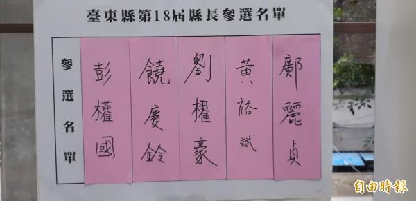 鄺麗貞今登記參選台東縣長,引發震撼。(記者黃明堂攝)