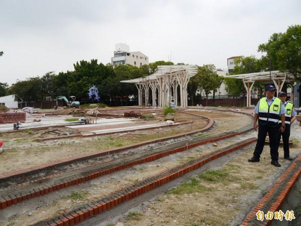 花博葫蘆墩園區第一工區仍在施工中。(記者張軒哲攝)