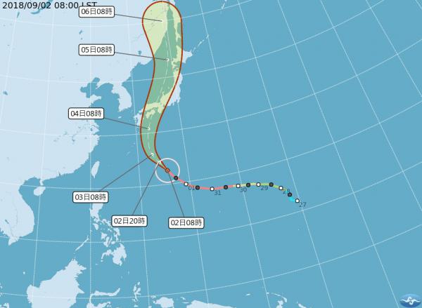 吳德榮指出,燕子在週二上午起將侵襲日本本州一帶,有赴日行程的民眾需特別注意。(圖擷取自中央氣象局)