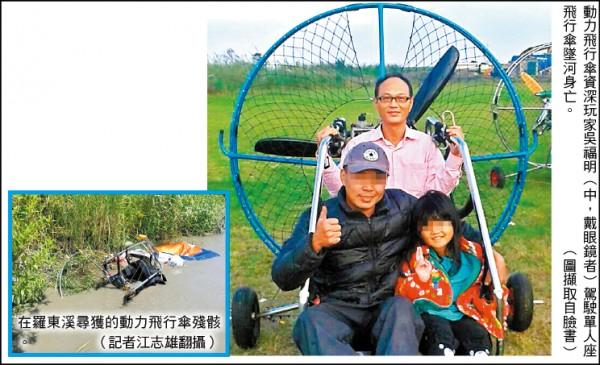 動力飛行傘資深玩家吳福明(中,戴眼鏡者)駕駛單人座飛行傘墜河身亡。 (圖擷取自臉書) 在羅東溪尋獲的動力飛行傘殘骸。(記者江志雄翻攝)
