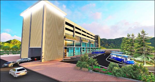 由宜縣府自建的羅東轉運站,為地下兩層、地上四層樓建築,明年底動工。圖為新站模擬圖。(宜蘭縣政府提供)