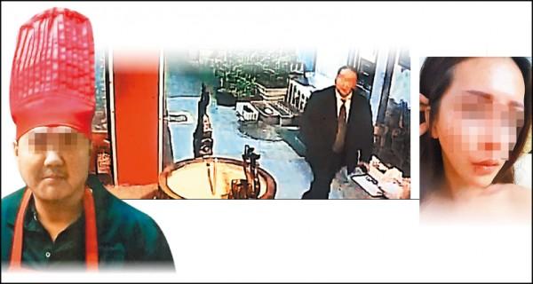 左圖、下圖:監視器拍下施嫌穿著正式服裝,在巷內尾 隨網拍女模「琳琳」。 (資料照,記者劉慶侯翻攝) 右圖:琳琳掙扎時嘴角撕裂傷。 (圖:琳琳提供)