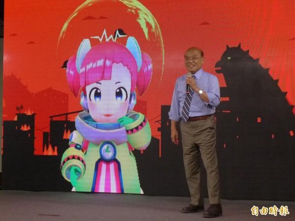 民進黨新北市長參選人蘇貞昌強調其「5大引擎」都更政見。(記者李雅雯攝)