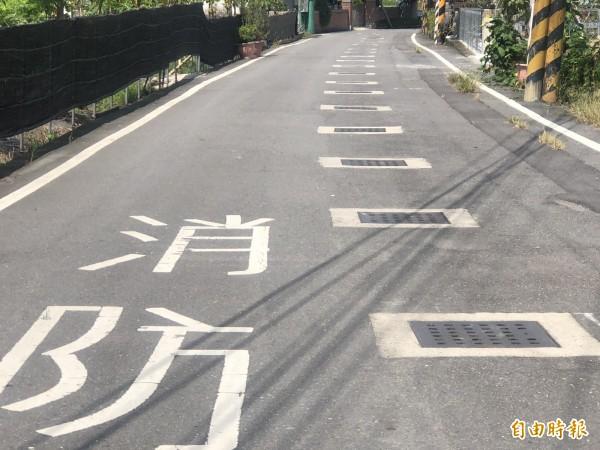 埔里鎮牛眠社區有多處道路排水溝在路中央,不到100公尺就有22個水溝蓋。(記者佟振國攝)