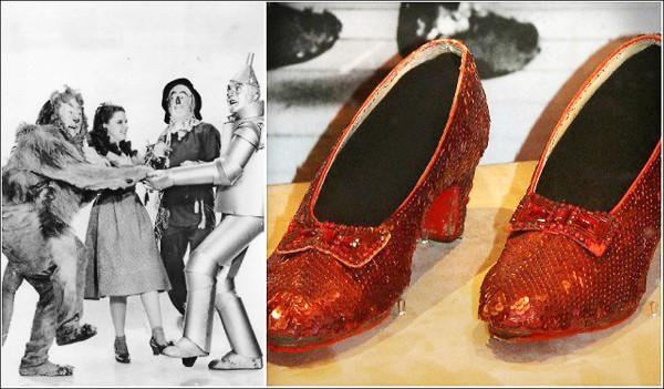 在一九三九年上映的美國經典奇幻歌舞電影「綠野仙蹤」與紅寶石鞋。(取自網路)