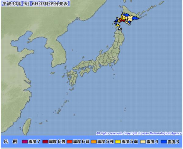 日本北海道地區,在當地時間周四(6日)凌晨3時08分(台灣時間2時08分)又發生規模6.7的強烈地震,震央位於北海道札幌東南面112公里處。(擷自日本氣象廳官網)