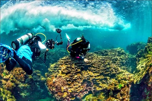 水上摩托車從潛水客頭頂飆過,引發潛水、浮潛民眾的擔憂。(記者蔡宗憲翻攝)