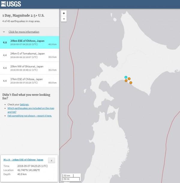 日本北海道餘震不斷。(擷取自USGS)