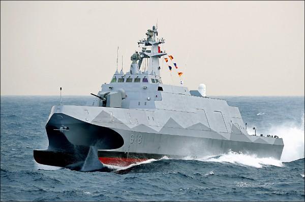由海軍進行的國艦國造項目共有九項,包括高效能艦艇(沱江級軍艦)後續第一批(三艘)量產計畫的一六四億元。圖為沱江艦。(資料照)