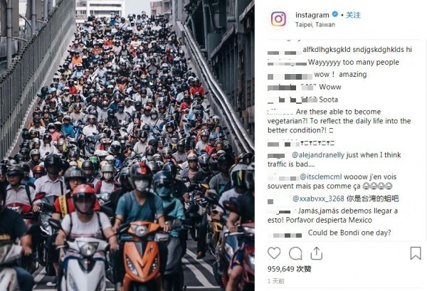 IG官方分享台北橋機車瀑布的照片,短短1天吸引95人萬讚。(圖擷取自Instagram官方帳號)