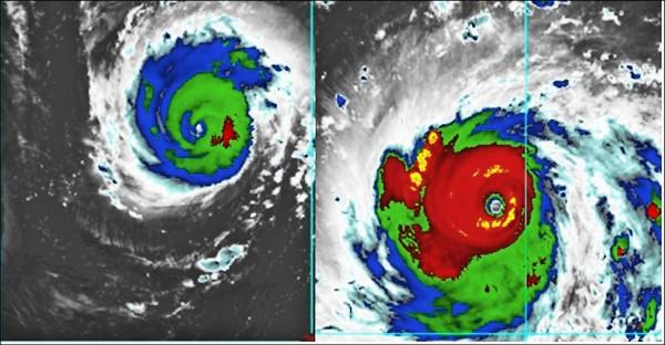 美國颶風中心(NHC)將佛羅倫斯(左)定為120浬/時,屬第4級颶風。同一時間,「山竹」被美國JTWC定為135浬/時(右)。(翻攝老大洩天機專欄)