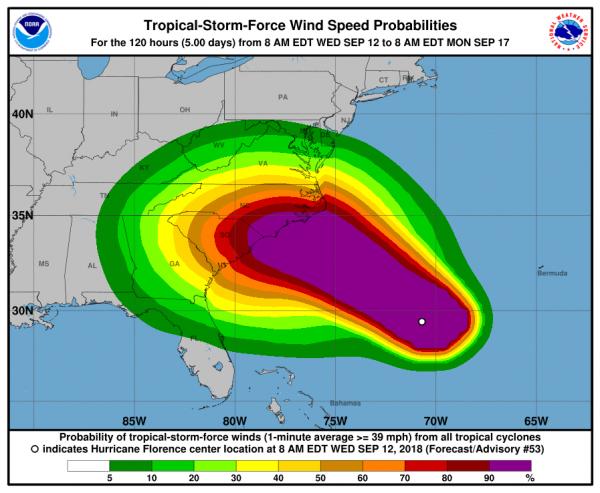 除了強烈的風力,佛羅倫斯估計也將導致致命的風暴潮,以及大規模的內陸洪災。(圖擷取自美國國家颶風中心官網)