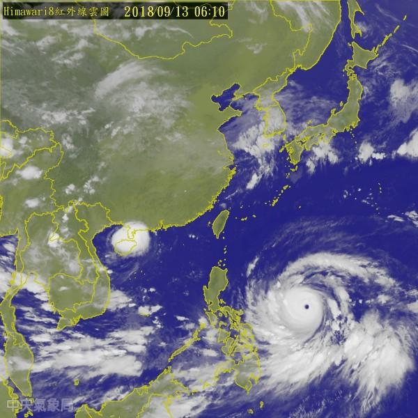 強颱「山竹」週五晚到週六對台灣影響最劇烈,東半部、南台灣要嚴防強風豪雨。(圖擷取自中央氣象局)